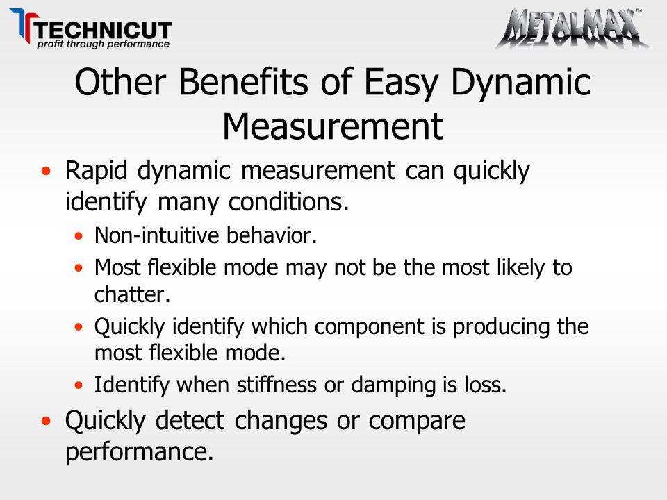 Other Benefits of Easy Dynamic Measurement Rapid dynamic measurement can quickly identify many conditions. Non-intuitive behavior. Most flexible mode
