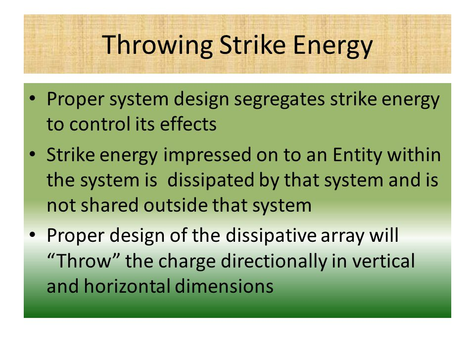 Throwing Strike Energy Proper system design segregates strike energy to control its effects Strike energy impressed on to an Entity within the system is dissipated by that system and is not shared outside that system Proper design of the dissipative array will Throw the charge directionally in vertical and horizontal dimensions