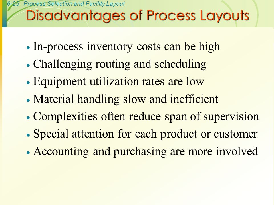 6-25Process Selection and Facility Layout  In-process inventory costs can be high  Challenging routing and scheduling  Equipment utilization rates