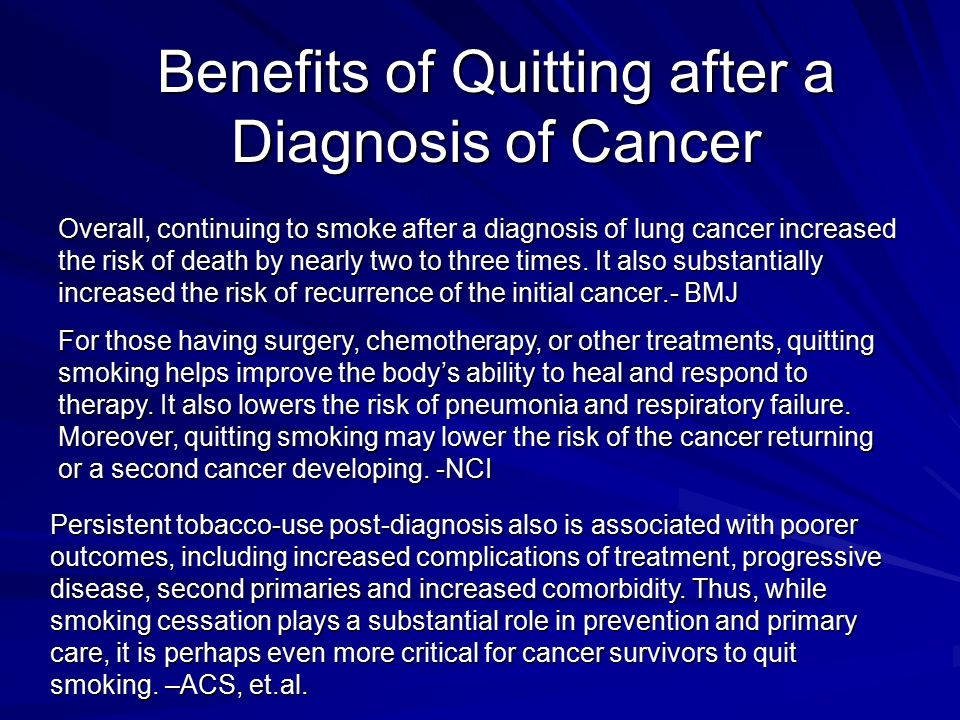 Benefits of Quitting after a Diagnosis of Cancer Overall, continuing to smoke after a diagnosis of lung cancer increased the risk of death by nearly t