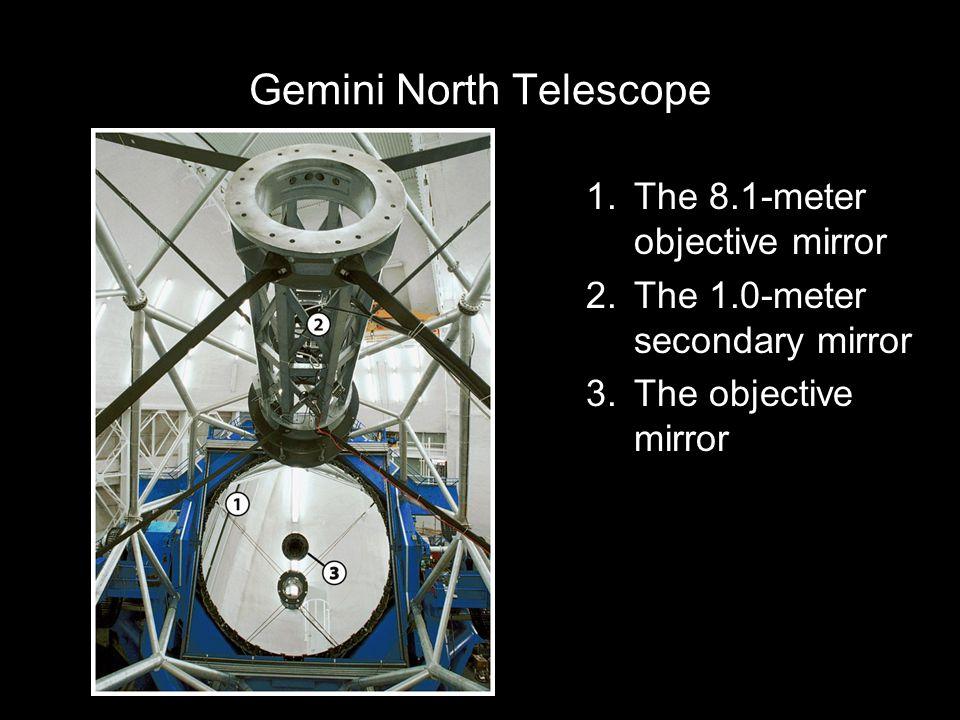 Gemini North Telescope 1.The 8.1-meter objective mirror 2.The 1.0-meter secondary mirror 3.The objective mirror