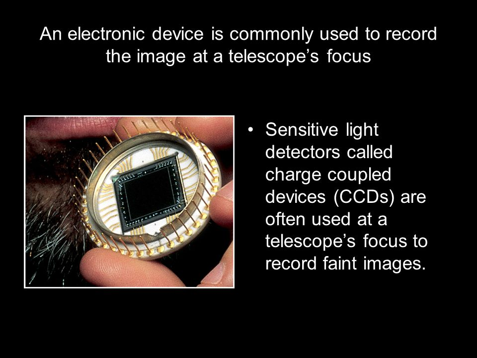 An electronic device is commonly used to record the image at a telescope's focus Sensitive light detectors called charge coupled devices (CCDs) are often used at a telescope's focus to record faint images.