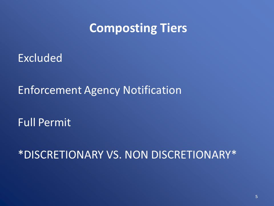 Composting Tiers Excluded Enforcement Agency Notification Full Permit *DISCRETIONARY VS. NON DISCRETIONARY* 5