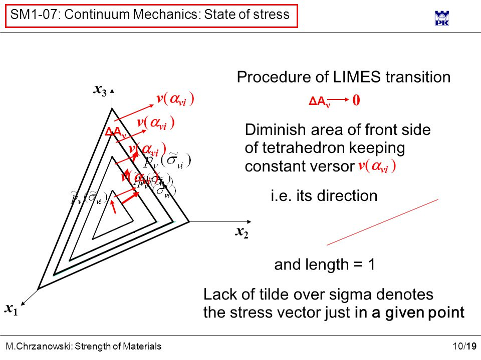 10 /19 M.Chrzanowski: Strength of Materials SM1-07: Continuum Mechanics: State of stress x2x2 x1x1 x3x3 ν(  νi ) Procedure of LIMES transition Diminish area of front side of tetrahedron keeping constant versor ν(  νi ) i.e.