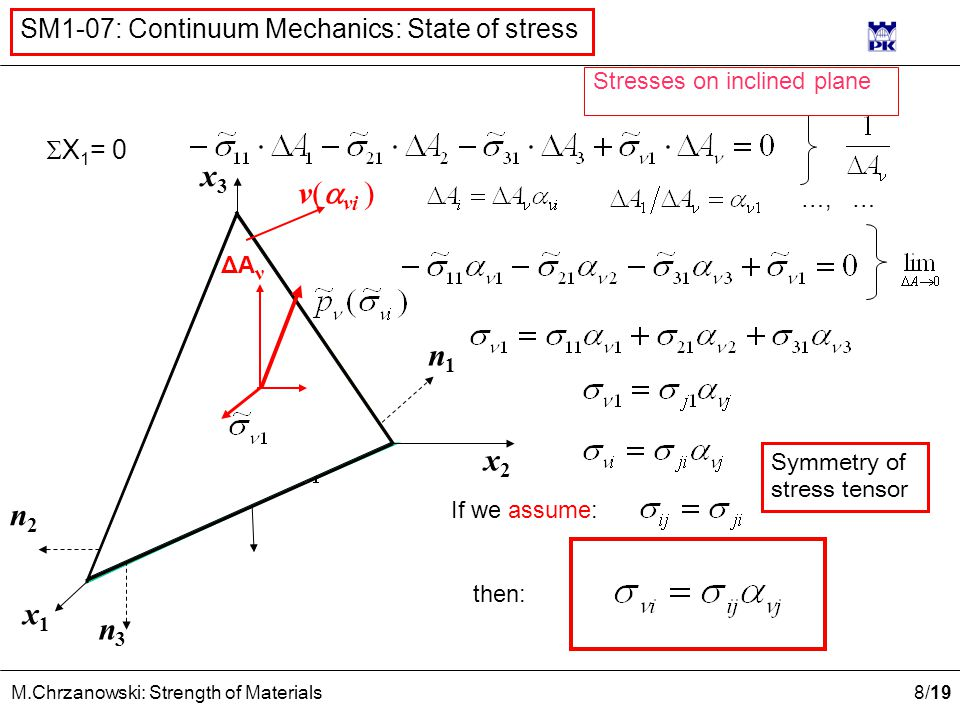 9 /19 M.Chrzanowski: Strength of Materials SM1-07: Continuum Mechanics: State of stress x2x2 x1x1 x3x3 ν(  νi ) Procedure of LIMES transition Diminish area of front side of tetrahedron keeping constant versor ν(  νi ) i.e.