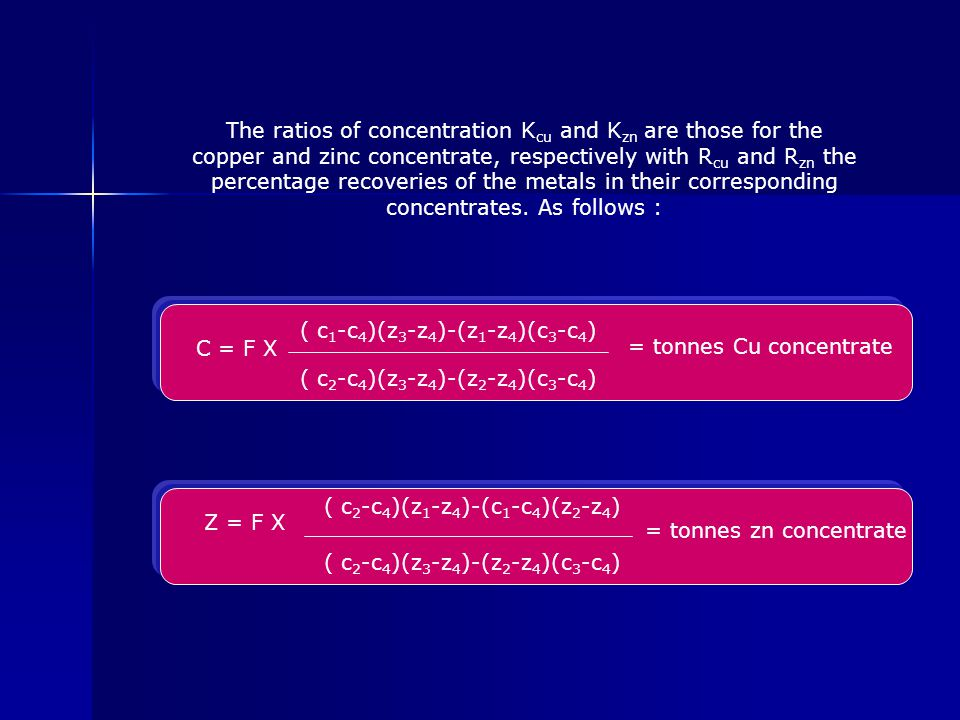 The ratios of concentration K cu and K zn are those for the copper and zinc concentrate, respectively with R cu and R zn the percentage recoveries of the metals in their corresponding concentrates.