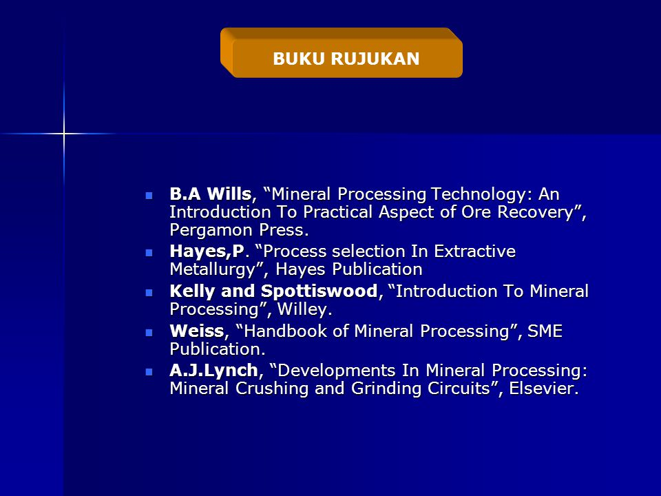 B.A Wills, Mineral Processing Technology: An Introduction To Practical Aspect of Ore Recovery , Pergamon Press.