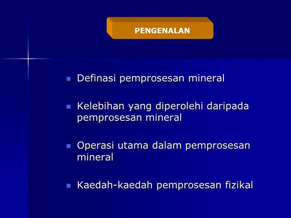 Definasi pemprosesan mineral Definasi pemprosesan mineral Kelebihan yang diperolehi daripada pemprosesan mineral Kelebihan yang diperolehi daripada pemprosesan mineral Operasi utama dalam pemprosesan mineral Operasi utama dalam pemprosesan mineral Kaedah-kaedah pemprosesan fizikal Kaedah-kaedah pemprosesan fizikal PENGENALAN