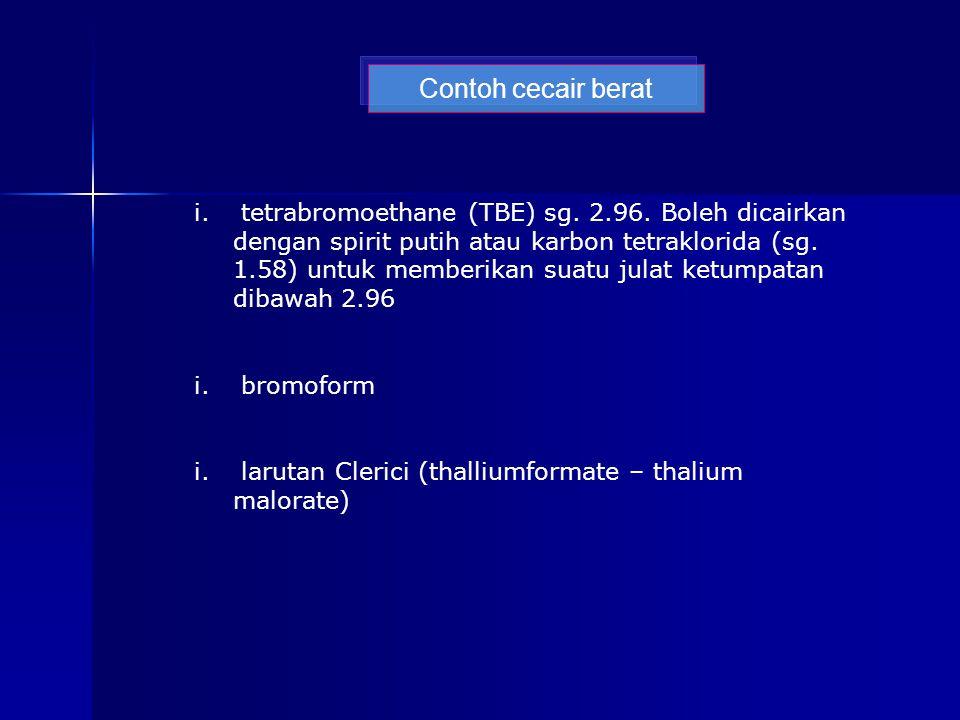 Contoh cecair berat i. tetrabromoethane (TBE) sg.