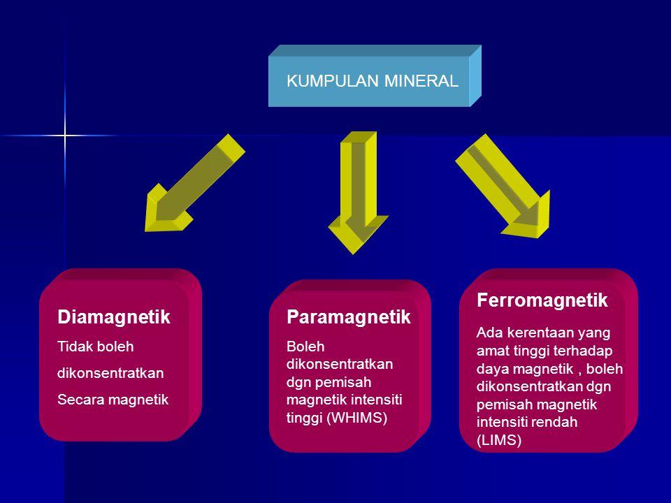 Diamagnetik Tidak boleh dikonsentratkan Secara magnetik Paramagnetik Boleh dikonsentratkan dgn pemisah magnetik intensiti tinggi (WHIMS) Ferromagnetik Ada kerentaan yang amat tinggi terhadap daya magnetik, boleh dikonsentratkan dgn pemisah magnetik intensiti rendah (LIMS) KUMPULAN MINERAL