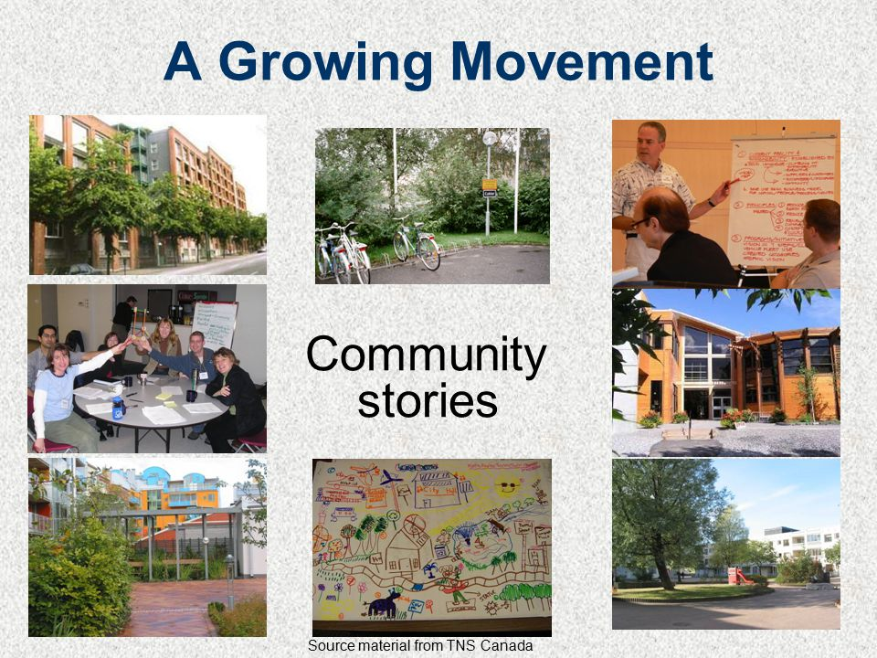 A Growing Movement Community stories Source material from TNS Canada