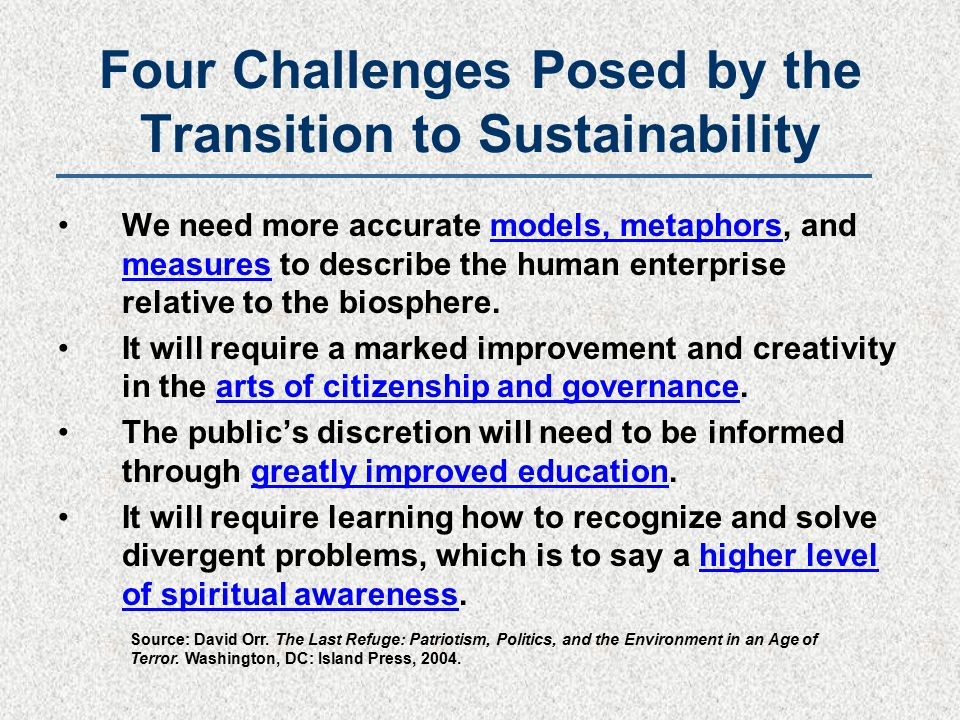 Four Challenges Posed by the Transition to Sustainability We need more accurate models, metaphors, and measures to describe the human enterprise relative to the biosphere.