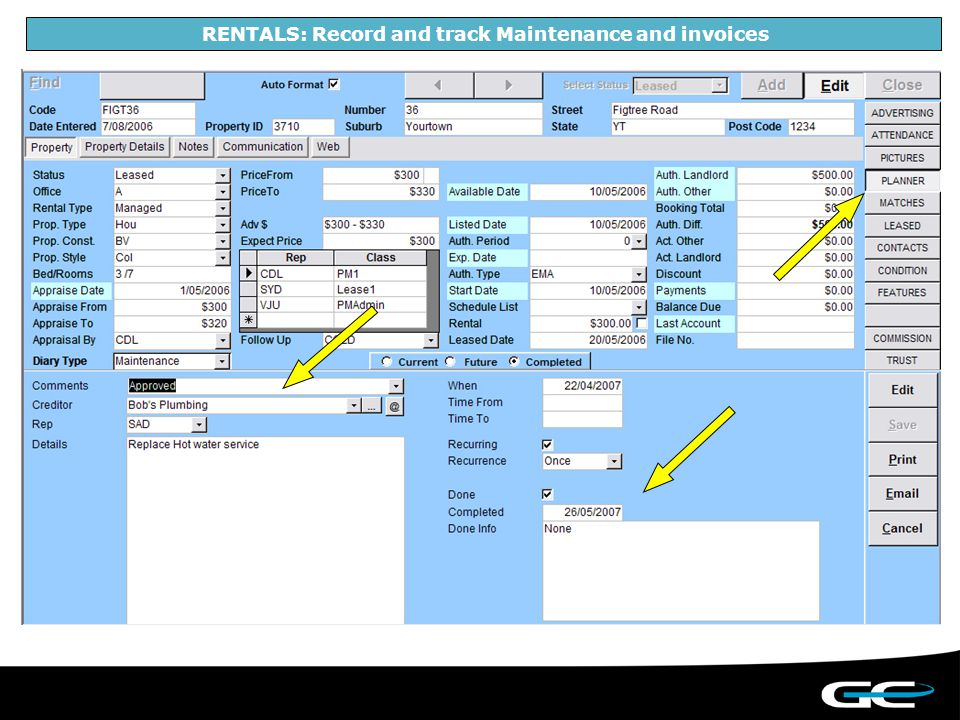 RENTALS: Record and track Maintenance and invoices