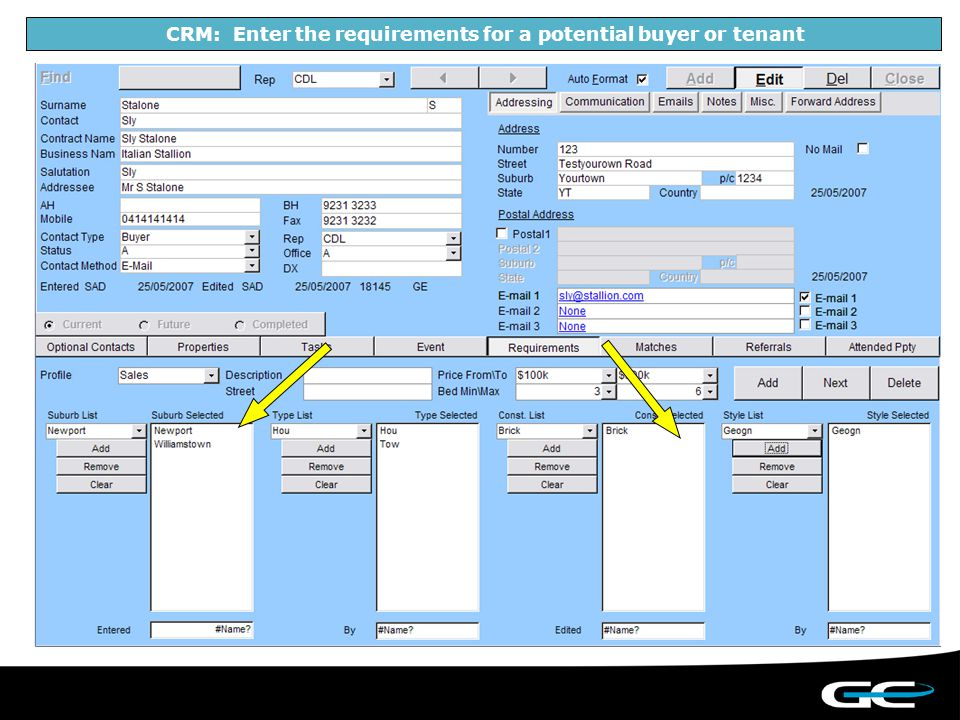 CRM: Enter the requirements for a potential buyer or tenant