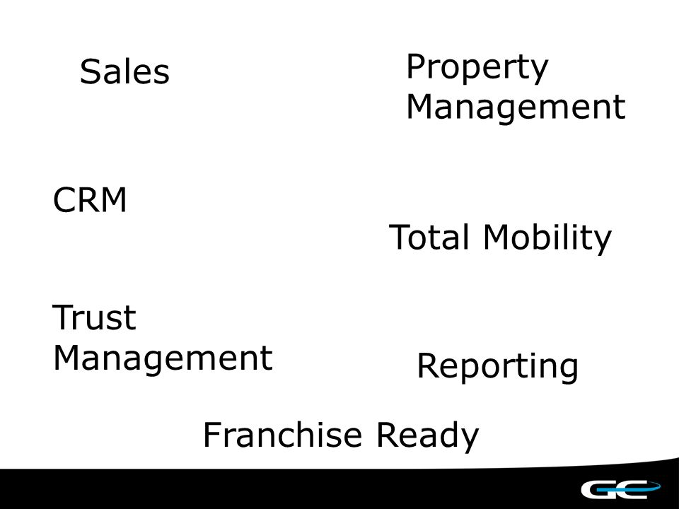 Sales Property Management Trust Management CRM Total Mobility Reporting Franchise Ready