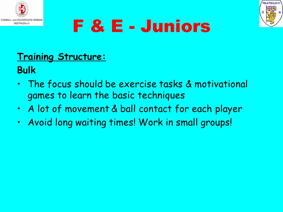 F & E - Juniors Training Structure: Bulk The focus should be exercise tasks & motivational games to learn the basic techniques A lot of movement & ball contact for each player Avoid long waiting times.