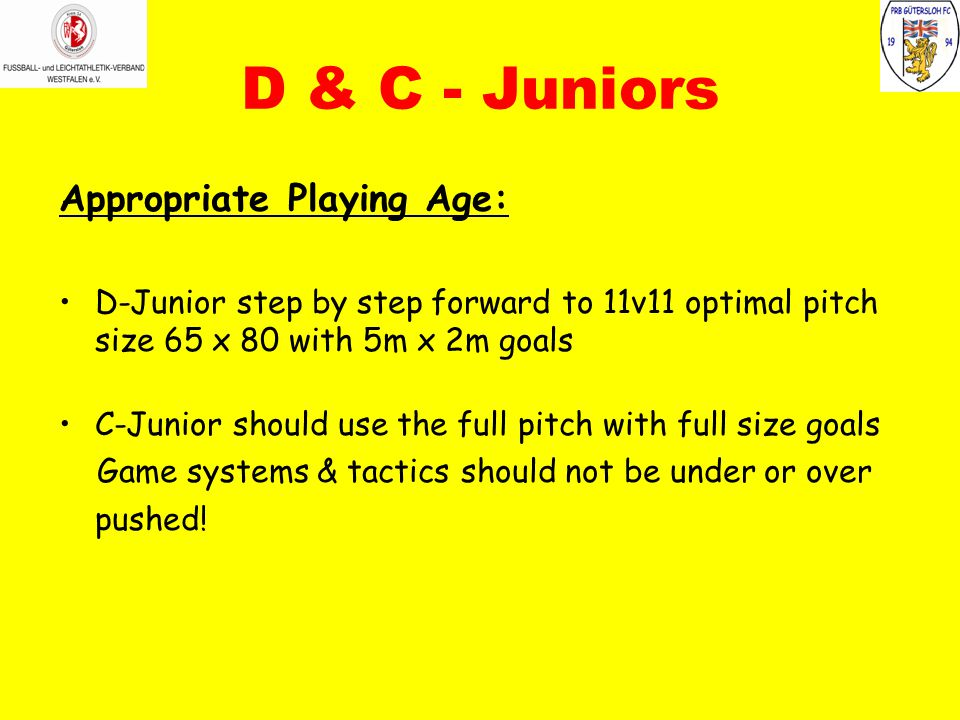 D & C - Juniors Appropriate Playing Age: D-Junior step by step forward to 11v11 optimal pitch size 65 x 80 with 5m x 2m goals C-Junior should use the