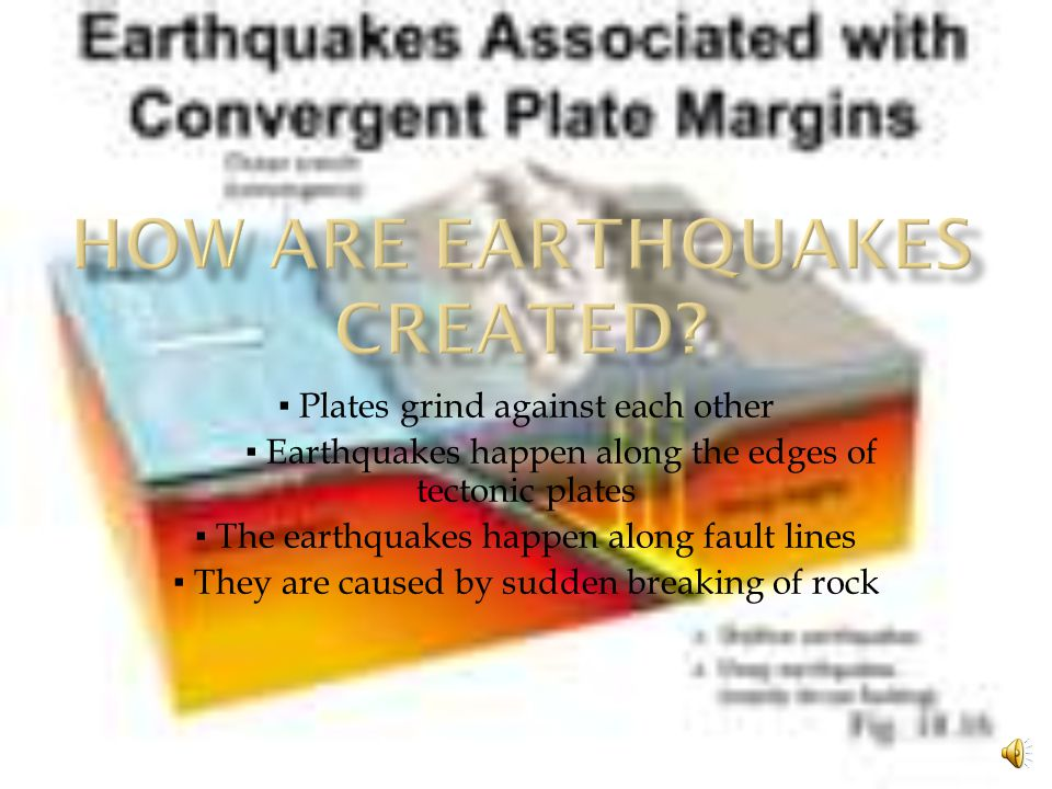 ▪ Plates grind against each other ▪ Earthquakes happen along the edges of tectonic plates ▪ The earthquakes happen along fault lines ▪ They are caused by sudden breaking of rock