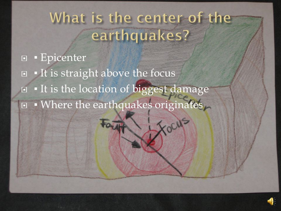  ▪ Epicenter  ▪ It is straight above the focus  ▪ It is the location of biggest damage  ▪ Where the earthquakes originates