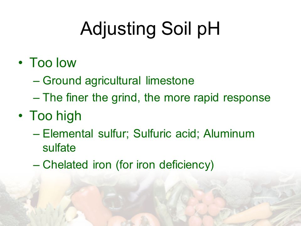 Adjusting Soil pH Too low –Ground agricultural limestone –The finer the grind, the more rapid response Too high –Elemental sulfur; Sulfuric acid; Aluminum sulfate –Chelated iron (for iron deficiency)