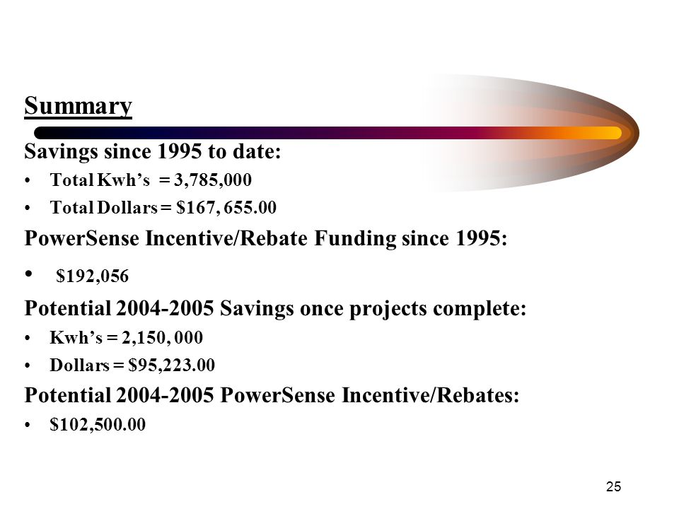 25 Summary Savings since 1995 to date: Total Kwh's = 3,785,000 Total Dollars = $167, 655.00 PowerSense Incentive/Rebate Funding since 1995: $192,056 Potential 2004-2005 Savings once projects complete: Kwh's = 2,150, 000 Dollars = $95,223.00 Potential 2004-2005 PowerSense Incentive/Rebates: $102,500.00