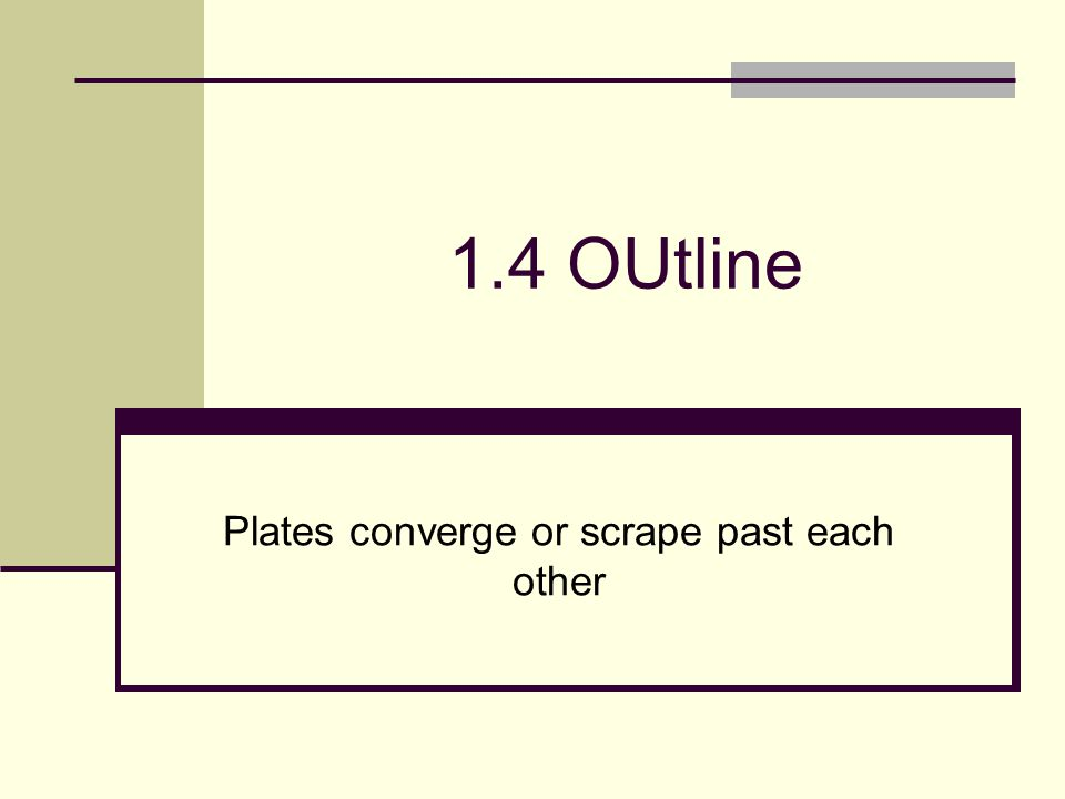1.4 OUtline Plates converge or scrape past each other