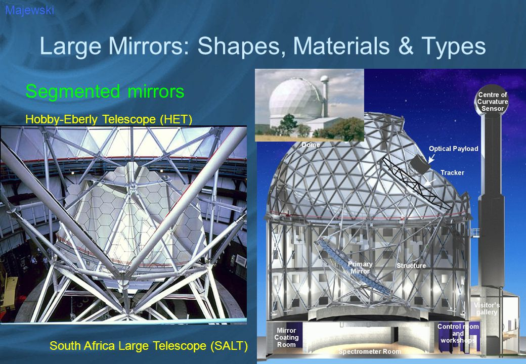 Large Mirrors: Shapes, Materials & Types Segmented mirrors Majewski Hobby-Eberly Telescope (HET) South Africa Large Telescope (SALT)