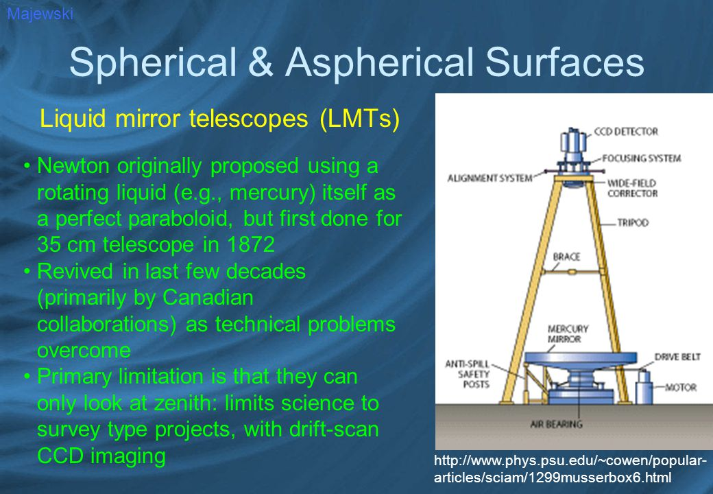 Spherical & Aspherical Surfaces Liquid mirror telescopes (LMTs) Majewski Newton originally proposed using a rotating liquid (e.g., mercury) itself as a perfect paraboloid, but first done for 35 cm telescope in 1872 Revived in last few decades (primarily by Canadian collaborations) as technical problems overcome Primary limitation is that they can only look at zenith: limits science to survey type projects, with drift-scan CCD imaging http://www.phys.psu.edu/~cowen/popular- articles/sciam/1299musserbox6.html
