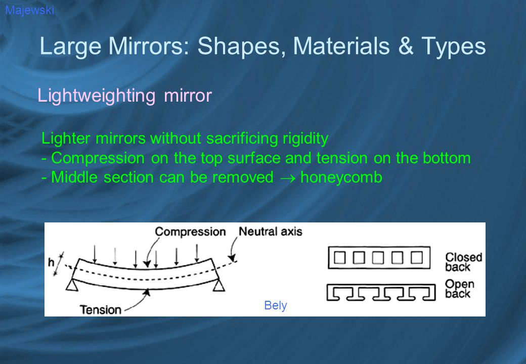 Large Mirrors: Shapes, Materials & Types Lightweighting mirror Majewski Lighter mirrors without sacrificing rigidity - Compression on the top surface and tension on the bottom - Middle section can be removed  honeycomb Bely