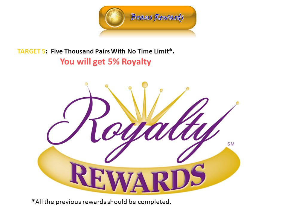 ROYALTY TARGET 5: Five Thousand Pairs With No Time Limit*.