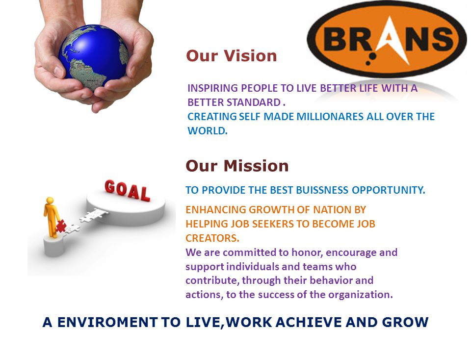 Our Vision A ENVIROMENT TO LIVE,WORK ACHIEVE AND GROW Our Mission INSPIRING PEOPLE TO LIVE BETTER LIFE WITH A BETTER STANDARD.