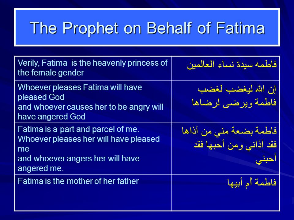 The Prophet on Behalf of Fatima Verily, Fatima is the heavenly princess of the female gender فاطمه سيدة نساء العالمين Whoever pleases Fatima will have