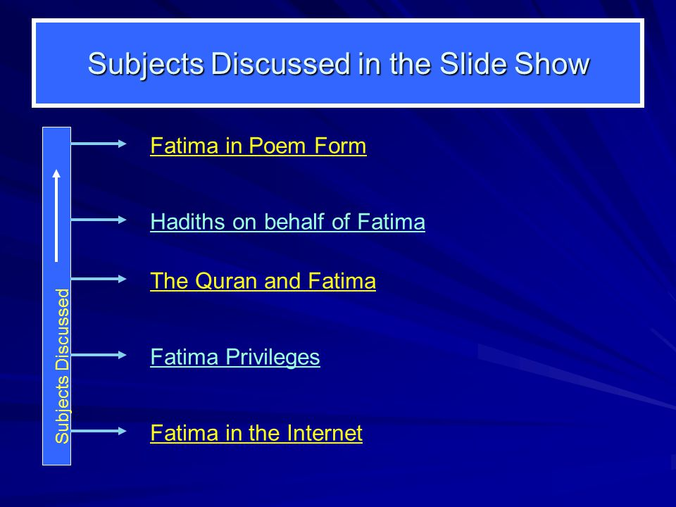 Subjects Discussed in the Slide Show Fatima in the Internet Fatima Privileges Hadiths on behalf of Fatima Subjects Discussed Fatima in Poem Form The Q