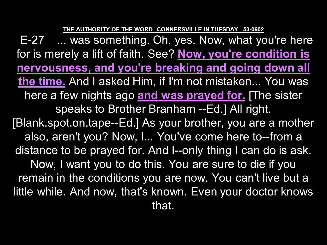 THE.AUTHORITY.OF.THE.WORD_ CONNERSVILLE.IN TUESDAY_ 53-0602 E-27...