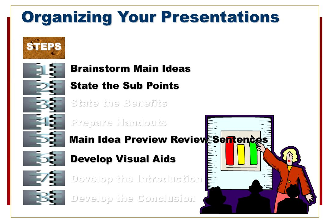 STEPS Organizing Your Presentations Brainstorm Main Ideas State the Sub Points State the Benefits Prepare Handouts Develop Visual Aids Main Idea Preview Review Sentences Develop the Introduction Develop the Conclusion