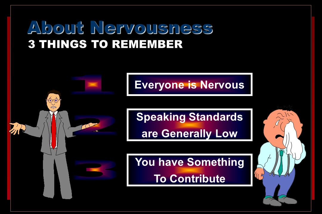 About Nervousness 3 THINGS TO REMEMBER Everyone is Nervous Speaking Standards are Generally Low You have Something To Contribute