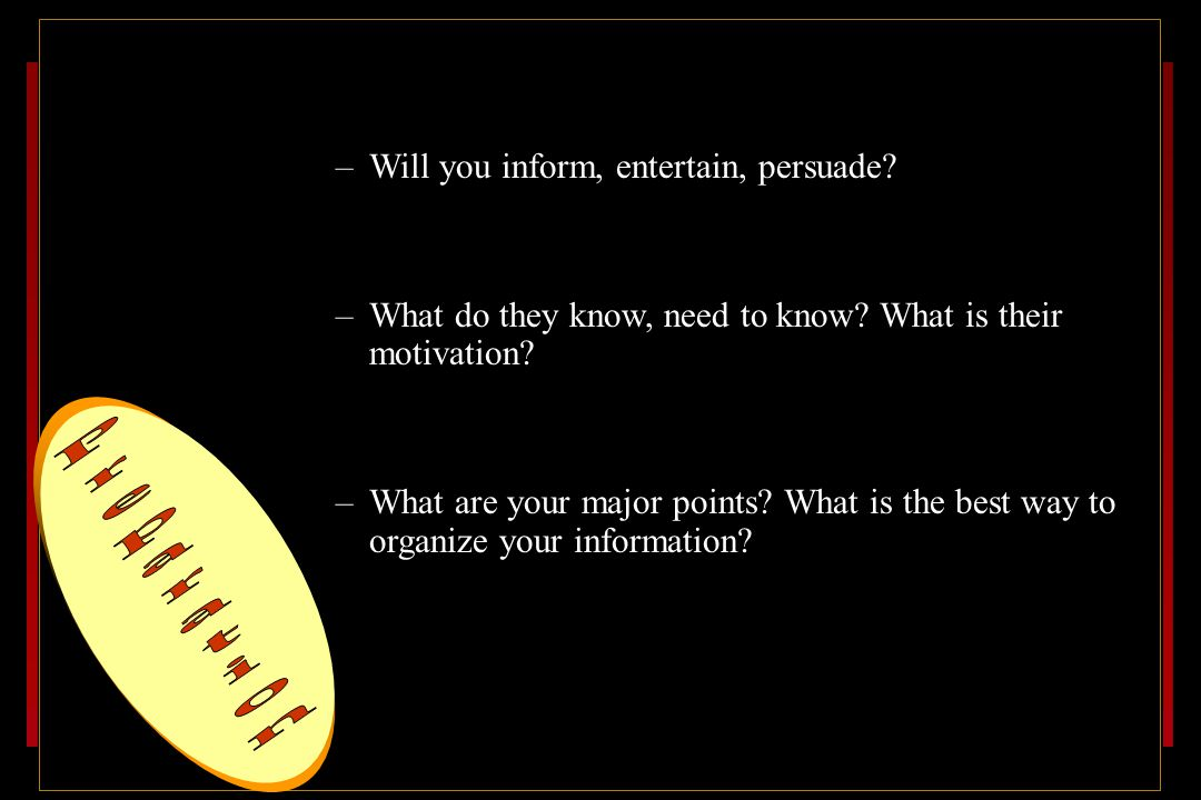 Know your objective –Will you inform, entertain, persuade.