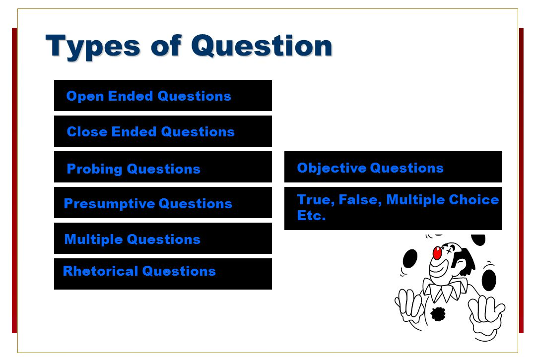 Types of Question Open Ended Questions Close Ended Questions Probing Questions Presumptive Questions Multiple Questions Rhetorical Questions Objective Questions True, False, Multiple Choice Etc.