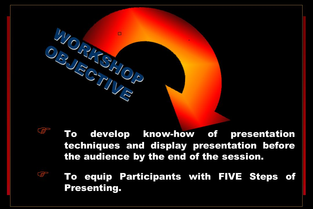  To develop know-how of presentation techniques and display presentation before the audience by the end of the session.