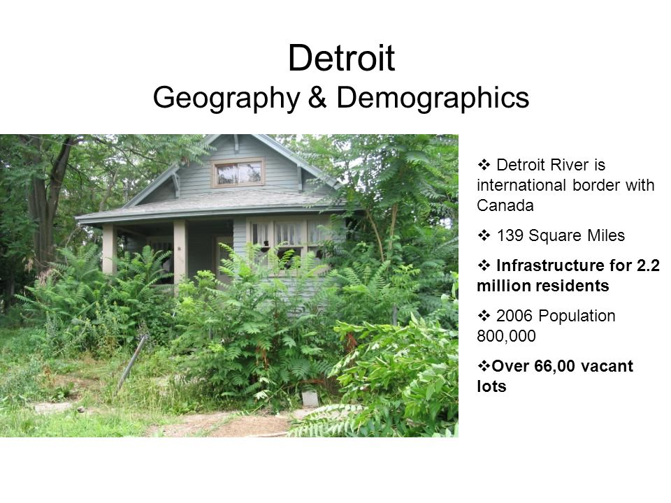 Detroit Geography & Demographics  Detroit River is international border with Canada  139 Square Miles  Infrastructure for 2.2 million residents  2006 Population 800,000  Over 66,00 vacant lots