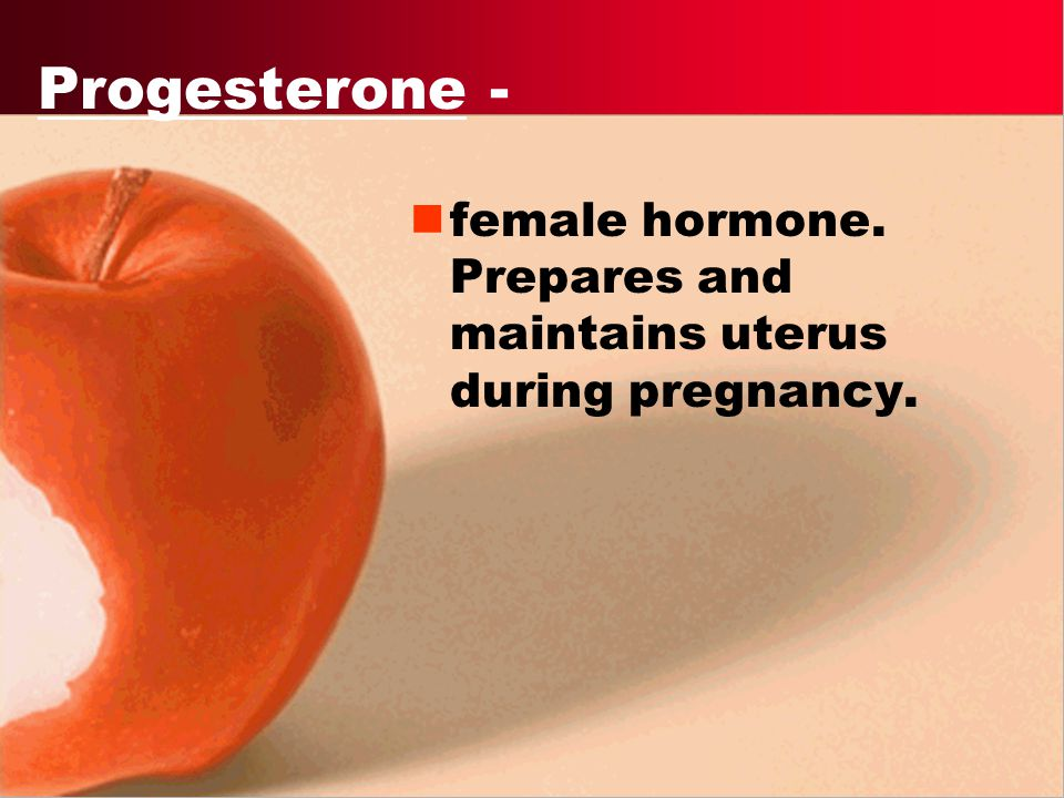 Estrogen - Primary female hormone maintains female reproductive cycle.