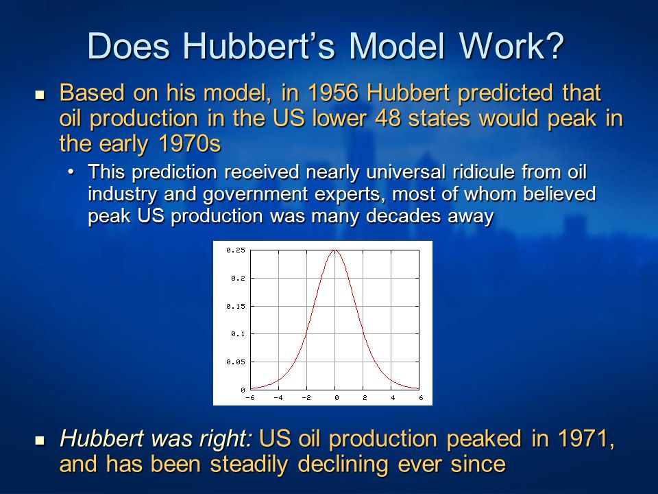 Does Hubbert's Model Work? Based on his model, in 1956 Hubbert predicted that oil production in the US lower 48 states would peak in the early 1970s B