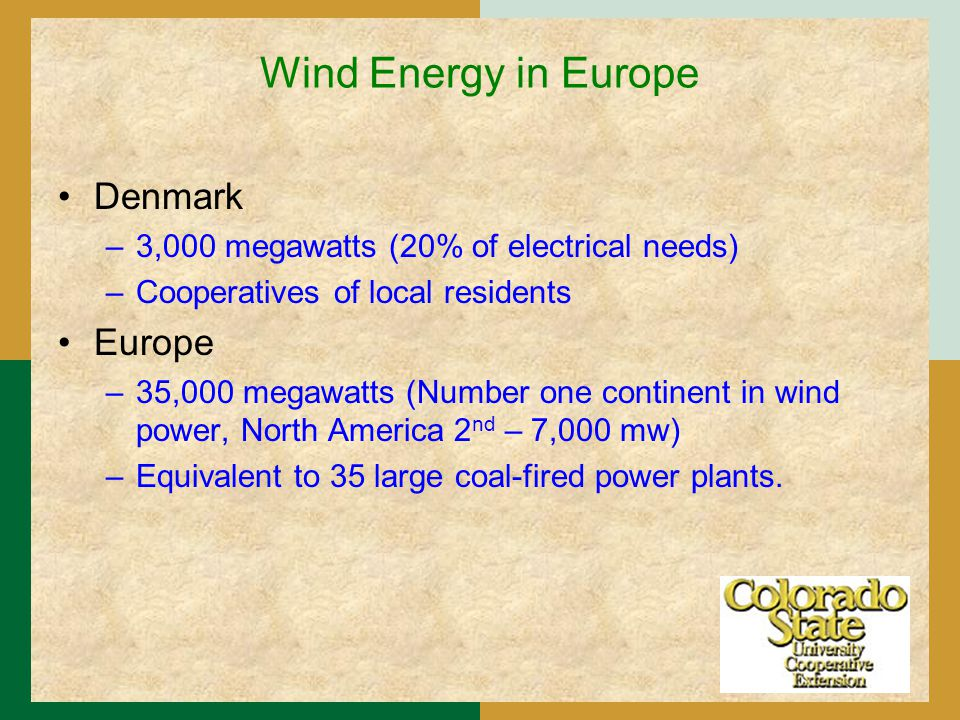 Wind Energy in Europe Denmark –3,000 megawatts (20% of electrical needs) –Cooperatives of local residents Europe –35,000 megawatts (Number one continent in wind power, North America 2 nd – 7,000 mw) –Equivalent to 35 large coal-fired power plants.