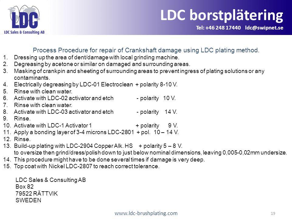 www.ldc-brushplating.com 19 LDC borstplätering Tel: +46 248 17440 ldc@swipnet.se Process Procedure for repair of Crankshaft damage using LDC plating method.