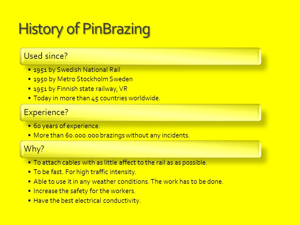 History of PinBrazing Used since? 1951 by Swedish National Rail 1950 by Metro Stockholm Sweden 1951 by Finnish state railway, VR Today in more than 45