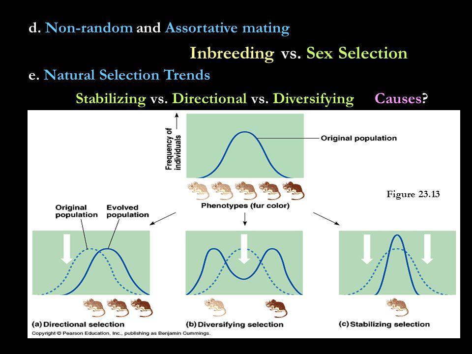 d. Non-random and Assortative mating Inbreeding vs.