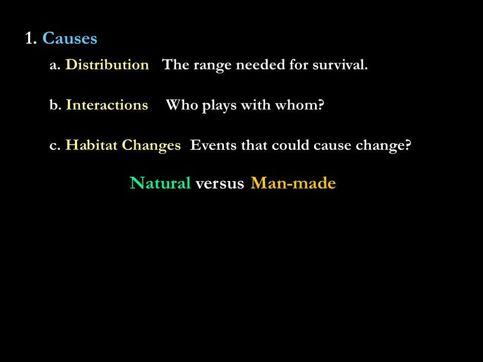 1. Causes a. DistributionThe range needed for survival.