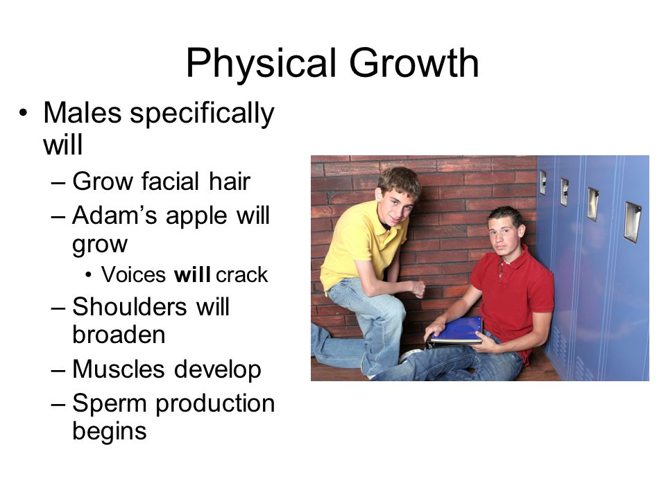 Physical Growth Males specifically will –Grow facial hair –Adam's apple will grow Voices will crack –Shoulders will broaden –Muscles develop –Sperm production begins
