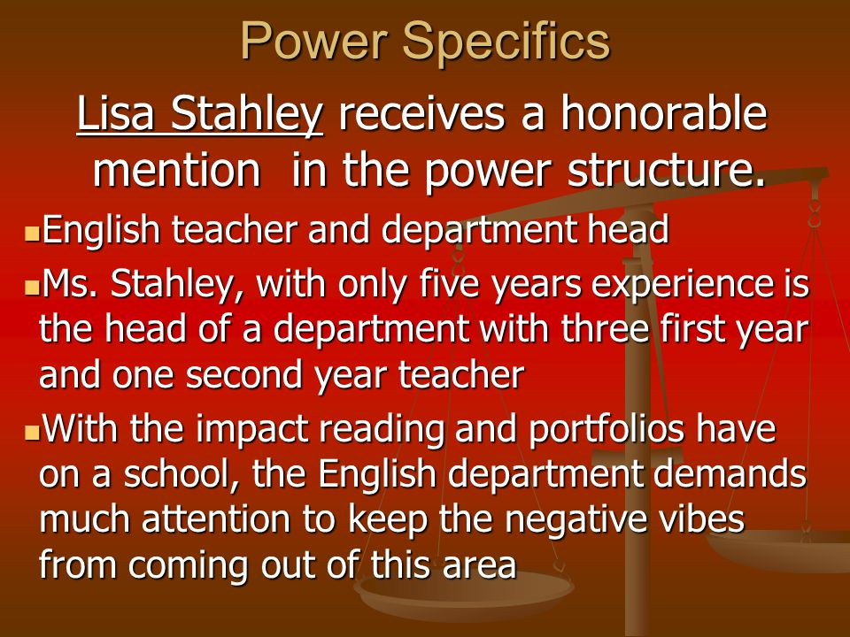 Power Specifics Lisa Stahley receives a honorable mention in the power structure.