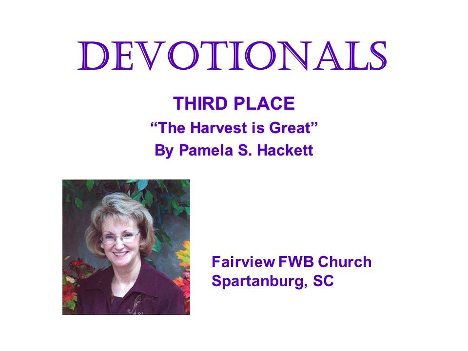 THIRD PLACE The Harvest is Great By Pamela S.